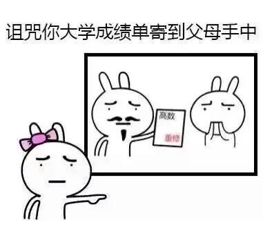 组织你大学成绩单寄到父母手中 - 画个圈圈诅咒你们 - 卡通兔子