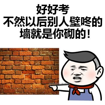 好好考 不然以后别人壁咚的墙就是你砌的!