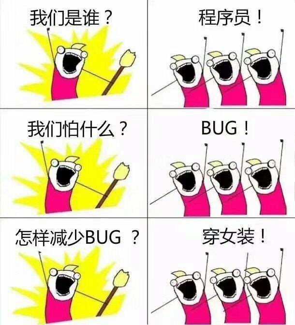 我们是谁?程序员!我们怕什么?bug!怎么减少bug?穿女装!